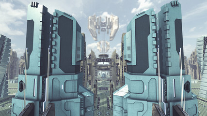 Take off from a futuristic scifi city. 3D rendering