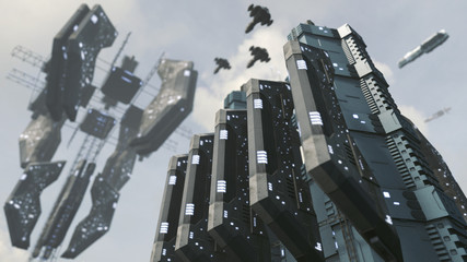 Futuristic scifi city with impressive space station. 3D rendering