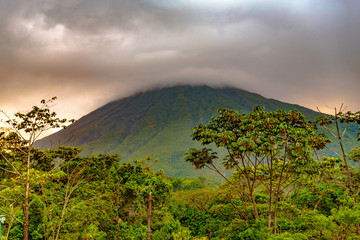 La Fortuna, Costa Rica - April 4, 2017:  Arenal Volcano is an active andesitic stratovolcano around 90 km northwest of San José, in the province of Alajuela, and district of La Fortuna.