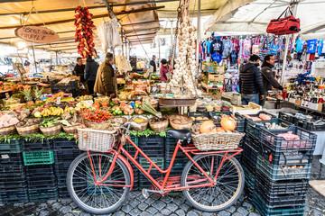 Bicycle, Chili, Pumpkin, Onion, Zucchini, Market, Balance,  Campo de Fiori, Rome, Lazio, Italy, Europe