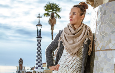 woman at Guell Park in Barcelona, Spain looking into distance