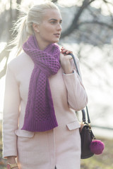 Beautiful blonde with purple scarf