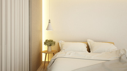 bedroom in hotel or apartment - 3d rendering