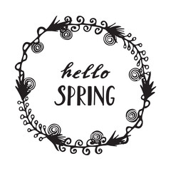 Floral Wreath with modern calligraphy Spring.