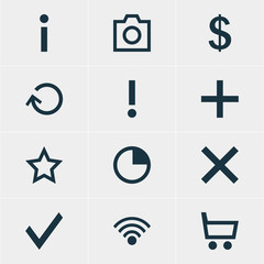 Vector Illustration Of 12 User Icons. Editable Pack Of Wrong, Check, Alert And Other Elements.