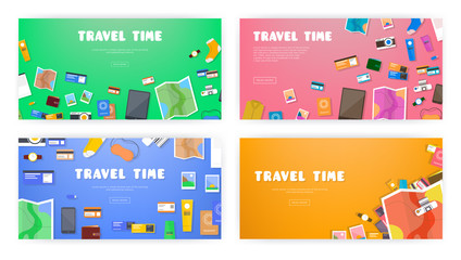 Travel time. Set of banners on travel, vacation, adventure theme. Preparing for journey. Things necessary traveler. Top view. Colorful background in flat style.