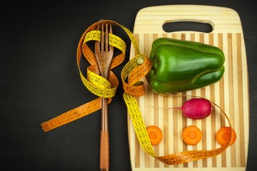 Strict vegetable diet. Raw food. Vegetarian food. The concept of diet lifestyle.