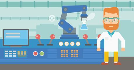 Scientist and robotic arm conducting experiments.