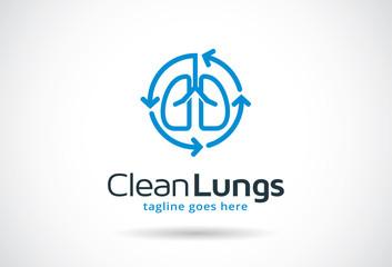 Clean Lungs Logo Template Design Vector, Emblem, Design Concept, Creative Symbol, Icon