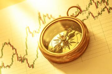 Compass on stock market data chart