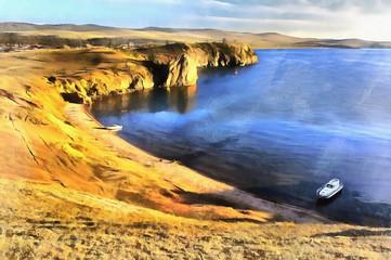 Colorful painting of Baikal lake beach