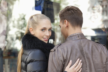 Young couple going shopping, close-up