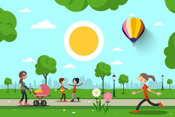 People in City Park Vector Cartoon