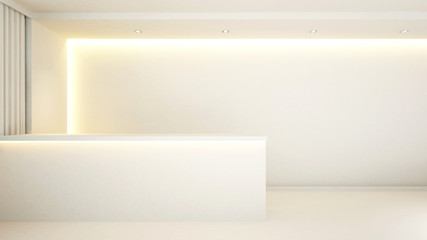 white counter reception for hotel - 3d Rendering