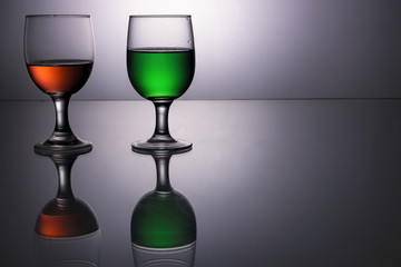 Red and green drinks