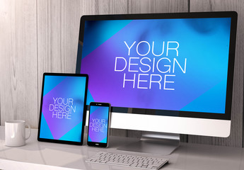 4 Devices on White Table Mockup 1