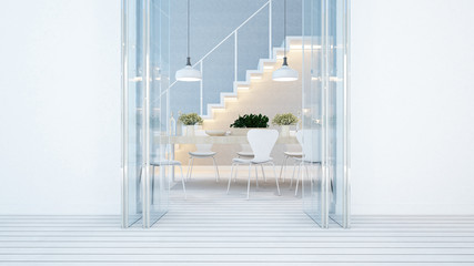 dining area and balcony white tone in home or condominium - 3D Rendering