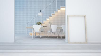 dining area white tone in apartment or condominium - 3D Rendering