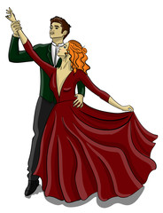 A guy in a tuxedo and a girl in a puffy dark red dress are dancing a waltz eps 10 illustration