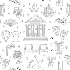 Vector seamless background with theater symbols