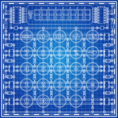 The electronic board in the form of a calculator on a blue background. Vector illustration.