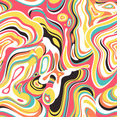 Vector seamless pattern. Abstract bright candy-colored psychedelic background with repeating structure of oil stains.