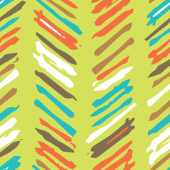 Abstract colorful background with repeating structure of hand drawn colorful strokes. Vector seamless pattern.