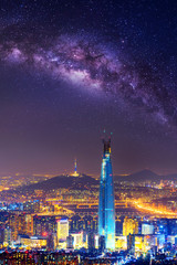 South Korea skyline of Seoul, The best view of South Korea with Lotte world mall and Milky way at Namhansanseong Fortress.