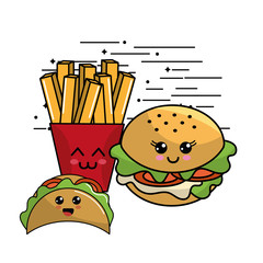 kawaii fast food icon adorable expression