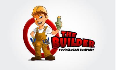 Thumbs up builder man character.  Vector logo illustration
