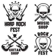 Set of rock and roll music emblems labels badges and design elements. Heavy metal design.