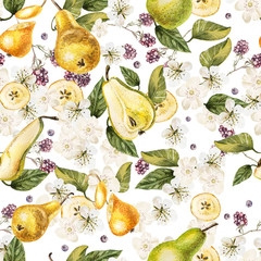 Bright watercolor seamless pattern with flowers, blackberries and fruits of a pear. Illustration