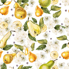 Bright watercolor seamless pattern with flowers, fruits of a pear. Illustration
