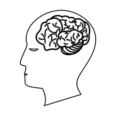 human head brain creativity outline vector illustration eps 10