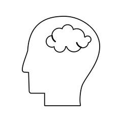 human head brain mind outline vector illustration eps 10