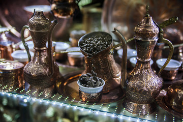 Traditional handcrafted copper coffee pots in souvenir shop in Sarajevo
