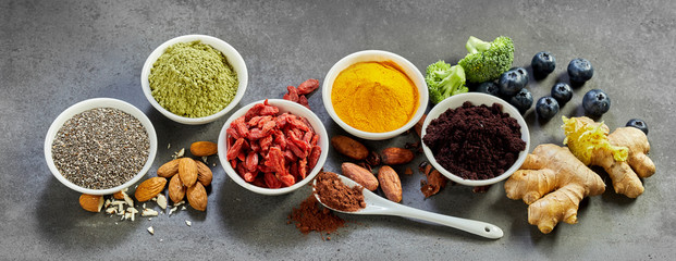 Superfoods panoramic banner for a healthy diet Fototapete