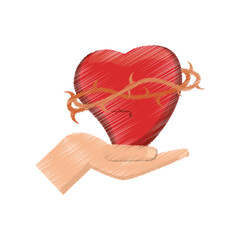 drawing hand holding sac heart vector illustration eps 10
