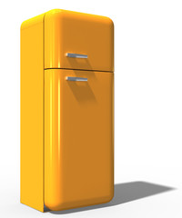 3d, nostalgischer Kühlschrank gelb, freigestellt