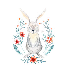 Cute baby rabbit animalisolated  illustration for children clothing, pattern. WatercolorHand drawn boho bunny image Perfect for phone cases design, nursery posters, postcards