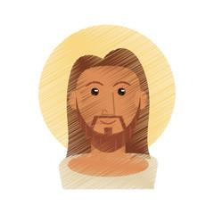 drawing jesus christ portrait image vector illustration eps 10