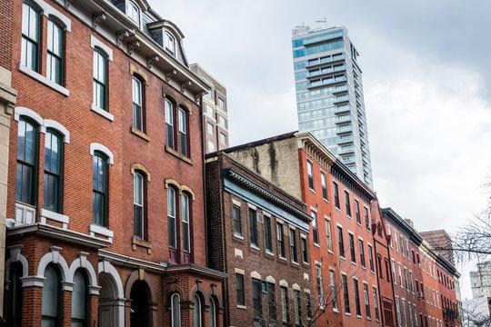 buildings in south downtown philadelphia, pennsylvania in spring near rittenhouse square