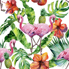 Watercolor illustration of tropical pink flamingo bird. Trendy artwork with tropic summertime motif. Exotic Hawaii art. Seamless mirror pattern.