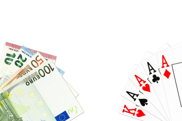 poker hand four of a kind in aces and some euro bank notes