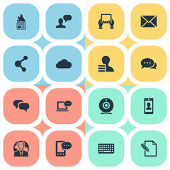 Vector Illustration Set Of Simple Newspaper Icons. Elements Gain, Gossip, Profile And Other Synonyms Notepad, E-Letter And Keypad.