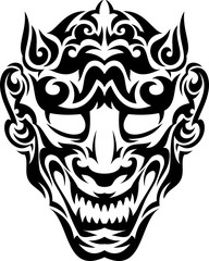 Tribal smiley japanese evil mask