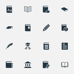 Vector Illustration Set Of Simple Books Icons. Elements Important Reading, Book Cover, Sketchbook And Other Synonyms Favored, Note And Sketchbook.