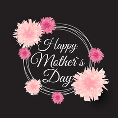 Happy Mother s Day Cute Background with Flowers. Vector Illustra