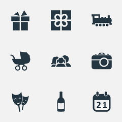 Vector Illustration Set Of Simple Holiday Icons. Elements Domestic, Beverage, Mask And Other Synonyms Gift, Day And Family.