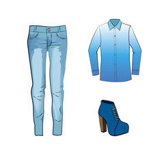 Fashion set with jeans trousers, gradient blouse and blue ankle boots